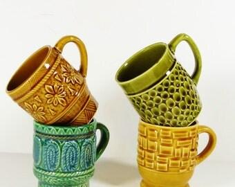 Set of 4 Mid-Century Mugs - Earththones - Japan - MCM Mug Coffee Cups