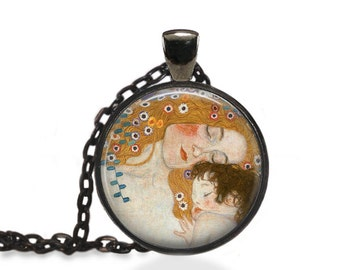 Mothers Day Gift Jewelry, Klimt Vintage Painting Pendant, Mother and Child Necklace [B49]