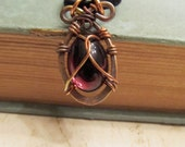 Forged Copper Wire Wrapped Glass Cabochon Dark Purple Gothic Jewelry