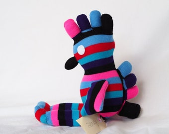 Sock monkey, sock animal, soft plush toy chicken. Ronnie Rooster.