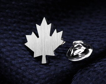 Tie pin - Sterling silver tie tack - Maple Leaf lapel pin - Groom boutonniere - Suit and Tie accessories