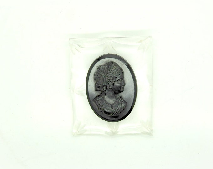 CAMEO BLACK portrait BROOCH for ladies