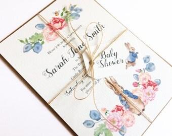 Baby Shower Invitation Christening Mitzvah Children's Party Birthday - Peter Rabbit, Beatrix Potter, Floral, Pink