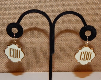 Monogrammed Earring - Ivory or Navy