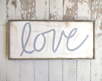 Gray love rustic wood sign
