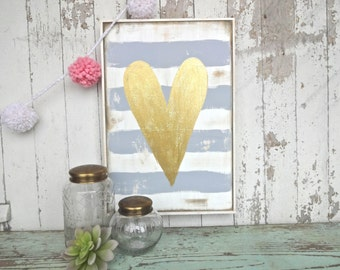 Grey and white stripes with gold glitter heart rustic wood sign