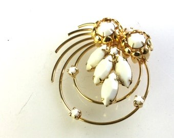 Fabulous Vintage Gold and White Brooch