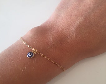 Evil eye bracelet - Dainty evil eye - Lucky charm bracelet - Evil eye charm - Minimalist bracelet - Boho jewelry - christmas present