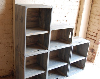 Wooden Crates/ Modern Book Shelf/ Wall Unit/ Bookcase/ Classic Gray/ Shelving
