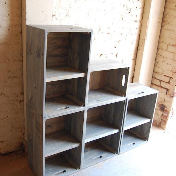 Wooden crates modern book shelf wall unit bookcase classic - Modern bookshelf wall unit ...