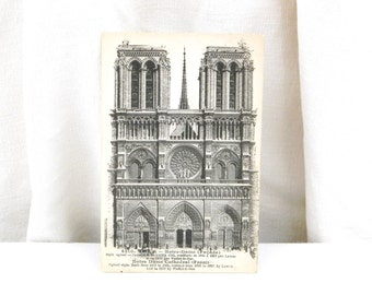 Unused Antique French Black and White Postcard, Notre Dame de Paris, French Country Decor, Vintage, Parisian Retro Interior, Provencal, Home