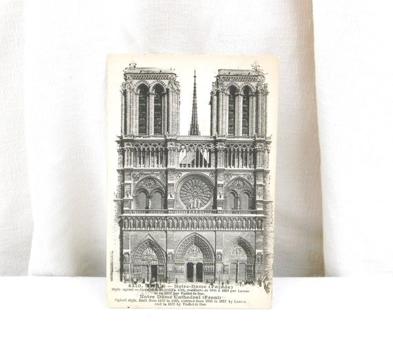 Unused antique french black and white postcard notre dame de for Notre dame home decor