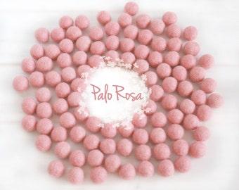 Wool Felt Balls - Size, Approx. 2CM - (18 - 20mm) - 25x 2CM Felt Balls Pack - Color Palo Rosa-4090- 2CM Felt Balls - 2CM Tea Rose Felt Balls