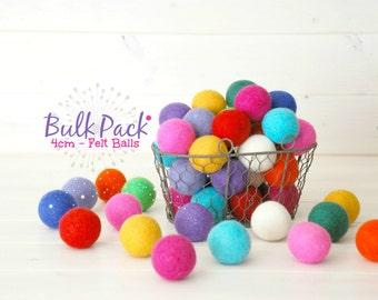 25 Jumbo Felt Balls - 4CM Wool Felt Balls - 100% Wool Felt Balls - (4cm/40mm) - Wool Felt Balls in bulk - 4CM Felt Balls - Felt Balls Bulk