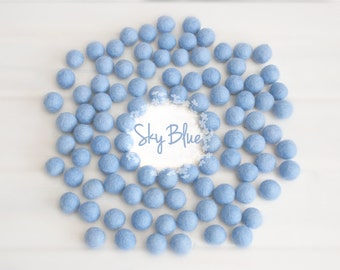Wool Felt Balls - Size, Approx. 2CM - (18 - 20mm) - 25 Felt Balls Pack - Color Sky Blue-2060 - 2CM Felt Balls - Soft Blue Felt Balls - Blue