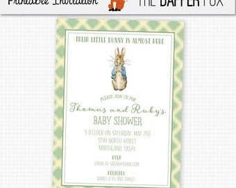 Peter Rabbit Baby Shower Invitation Gender Neutral - Printable - Beatrix Potter Book Baby Shower Invite Green Classic Plaid Invitation