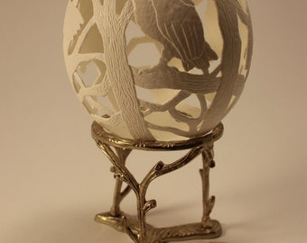 Barn Owls -  Ostrich Eggshell Carving with Brass Stand, Ostrich Egg, Easter Gift, Egg Art, Eggshell Sculpture, Owl Lovers, Trees, Woods
