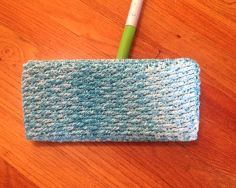 Reusable Crochet Cotton Swiffer Cover Pad/Duster Use Dry or Wet (Blue&White)