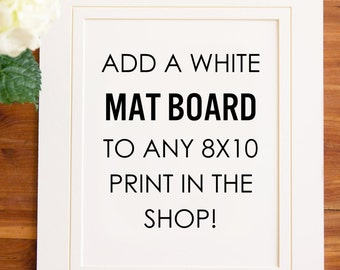 White Mat Board for your 8x10 Print; White Picture Matting