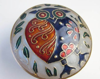 Brass Owl Trinket Box-Vintage Brass and Painted Enamel-Brass Holder