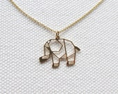 Origami Elephant Necklace 14k Gold Filled Thin Chain Necklace Animal Charm Jewelry Womens Gift