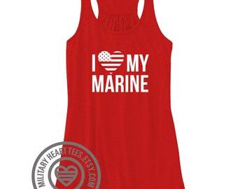 I love my Marine Racerback Tank Top, marine wife, marine girlfriend, marine mom, marine sister, marine workout, marine clothing, marine love