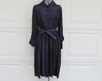 1960s vintage handmade silk plum shirt dress