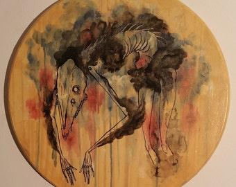 Spectre: original wood-mounted illustration