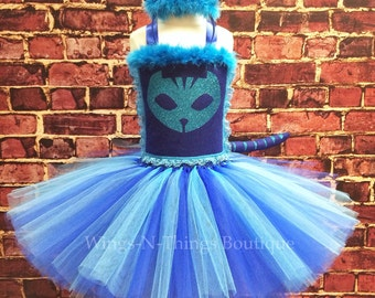 TIGER CAT COSTUME Tutu Dress Set w/ Cat Ear Headband & Tie on Cat Tail, Pjmasks, Catboy, Girls, Toddler, Kids, Birthday, Party, Hallowee