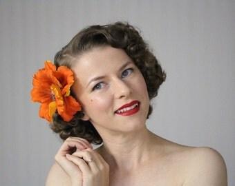 "Orange Flower Hair Clip, Fall Fascinator, Large Floral Headpiece, 1950s Hair Accessory, Vintage Hair Piece, Women Hair - ""October Poppy"""