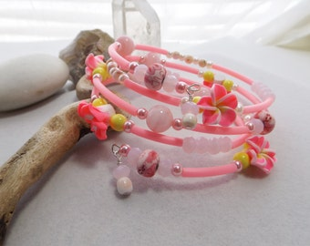 Pink Rubber Tubing Oval Memory Wire Bracelet with Resin Flowers, Pink Glass and Shell Beads, Wrap, Bangle, Cuff, Adjustable Bracelet