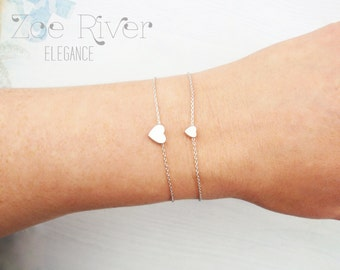 Mother daughter heart bracelets. Choose rose gold, silver or gold. Dainty heart bracelet
