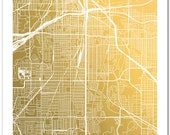 Gold Foil Map of Fort Worth, Texas, Fort Worth Art Print, Gold Foil Print, Fort Worth Map, Map Art, Geography Print, Cowtown