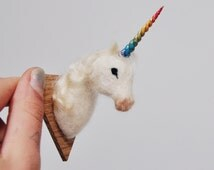Felted Unicorn Baby - Faux Taxidermy Needle Felted Wool - Magnet