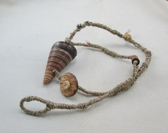 Artisan Wrapped Necklace, Flax Twine and Shell, Braided Tribal Necklace, OOAK