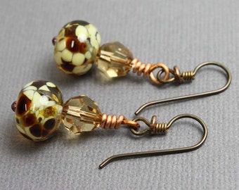 Lampwork Earrings, Fall Earrings, Brown Dangle Earrings, Brown Drop Earrings, Small Brown Earrings, Glass Crystal Earrings, Kathy Bankston