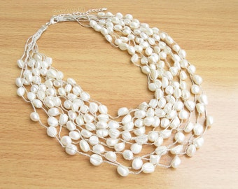 White freshwater pearl necklace on silk thread, Bridal necklace, Wedding jewelry, multistrand necklace, chunky necklace