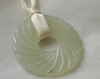 Jade donut pendant & ivory satin cord necklace , beaded jewelry , ethnic Chinese style , Asian jewelry , jade jewelry , jade , cord jewelry