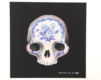 "Limited edition 8x8"" print, ""Bone China"" asian inspired skull art, skeleton, bones, anatomy, blue china, giclee print, creepy morbid 13/50"