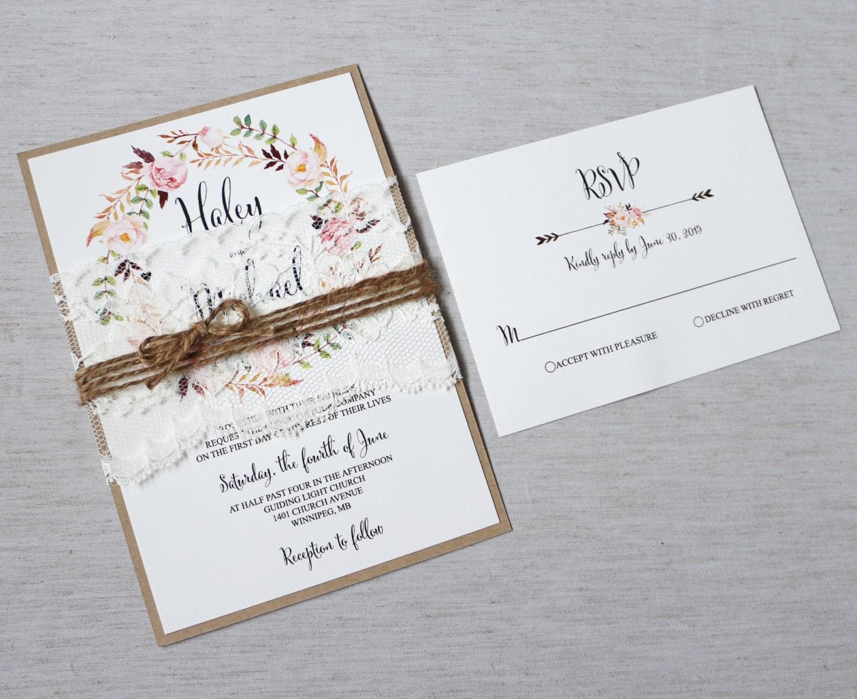 Wedding Invites Rustic: Floral Wedding Invitation Rustic Wedding Invitation Lace