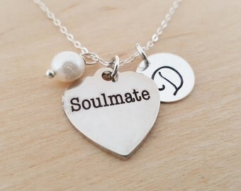 Soulmate Necklace - Swarovski Birthstone - Initial Necklace - Personalized Necklace - Sterling Silver Necklace - Gift for Her