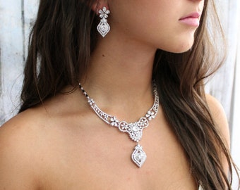 Bridal necklace, Wedding Cubic Zirconia Jewelry Set, Wedding Necklace, Bridal Statement Jewelry