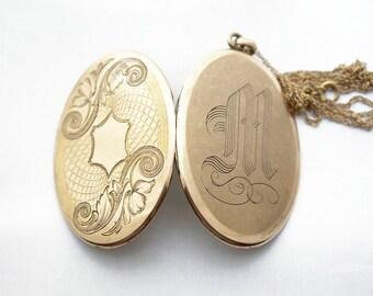 Monogram M Locket Necklace, Victorian letter M locket, antique initial M locket, large gold-filled locket, wedding locket, vintage locket