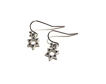 Star of David earrings handmade surgical steel loops Jewish Israel religious religion Hebrew