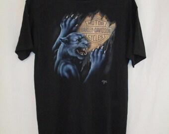 Vintage 90s 1991 Harley Davidson 3d Emblem Panther T Shirt Sz L