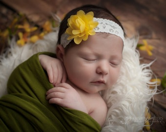 FREE SHIPPING! Yellow Baby Headband, Yellow Flower Headbands, Baby Headbands, Baby Girl Headband, Toddler Headbands, Infant Headband