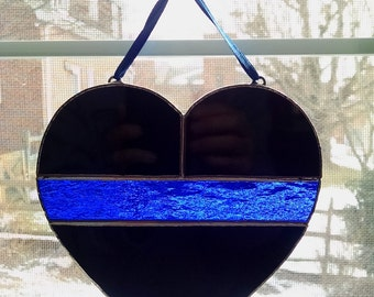 Thin Blue Line Stained Glass Heart - Police Symbol - Police Officer Gift - Law Enforcement Gift - Police Memorial - Police Support