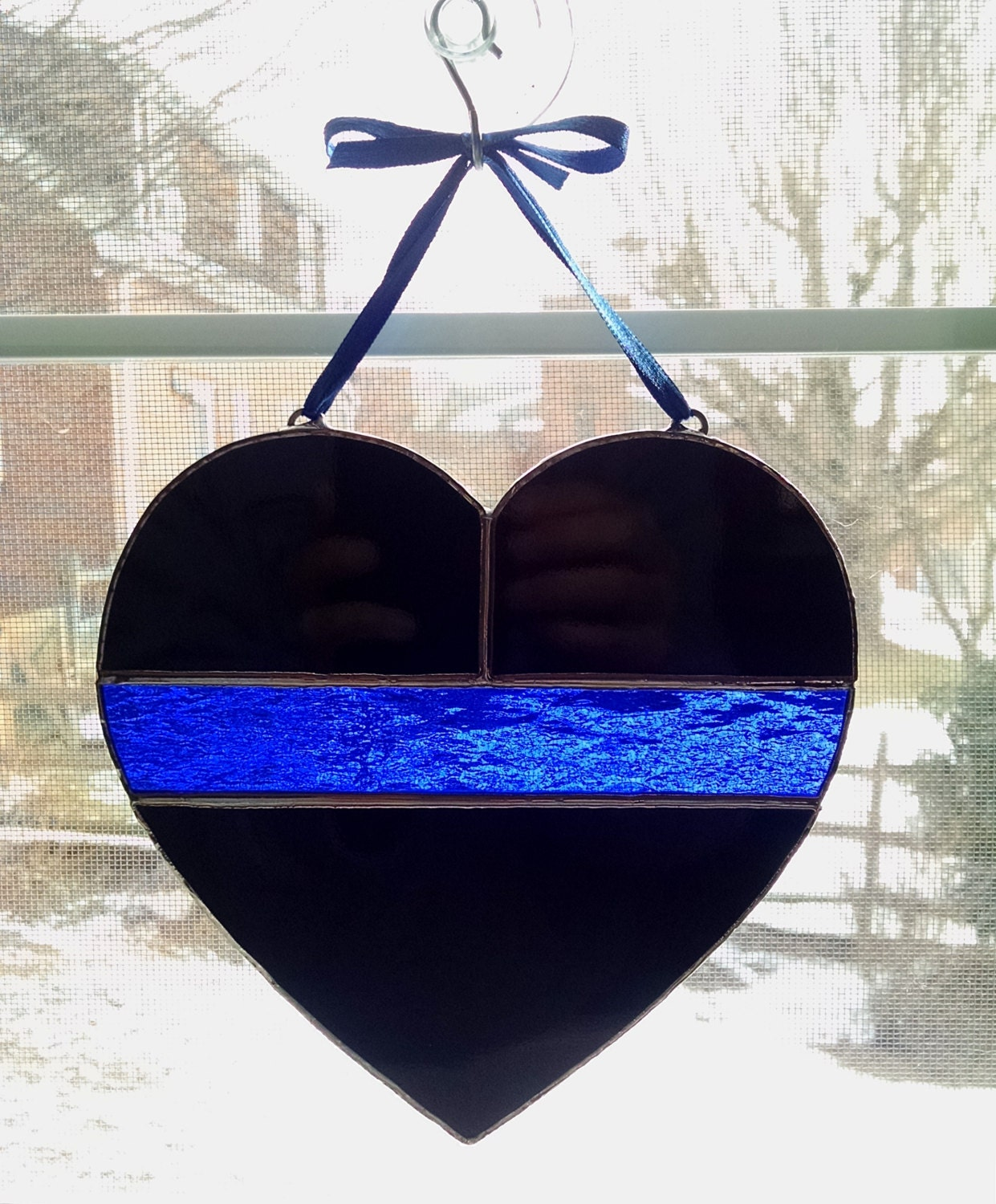Thin Blue Line Stained Glass Heart Police Symbol Police