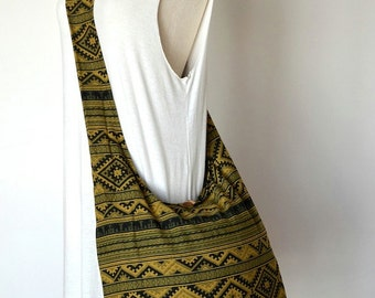 Hmong Bag Elephant Cotton Bag Hill Tribe Crossbody Bag Boho Hobo Bag Shoulder Sling Bag Handbag Diaper Bag, Green