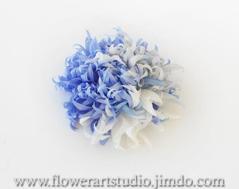 Light blue fabric flower, bridal brooch or hair clip, blue flower for sash, light blue flower hair clip, mother of a bride blue silk flower.